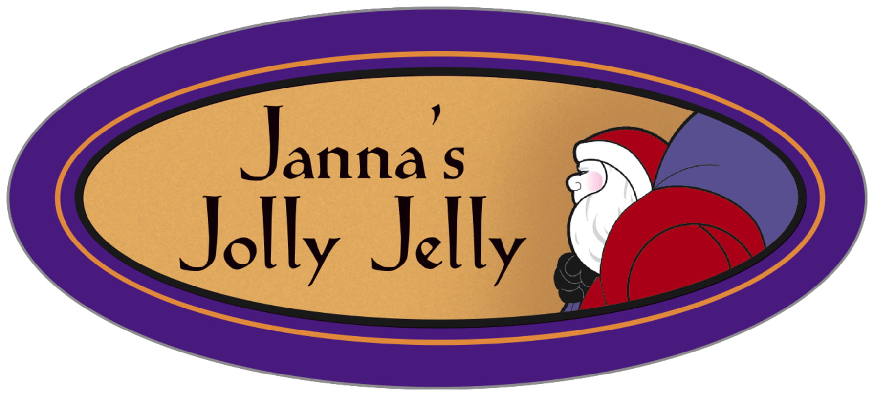 oval food/craft labels - purple & gold - santa (set of 30)