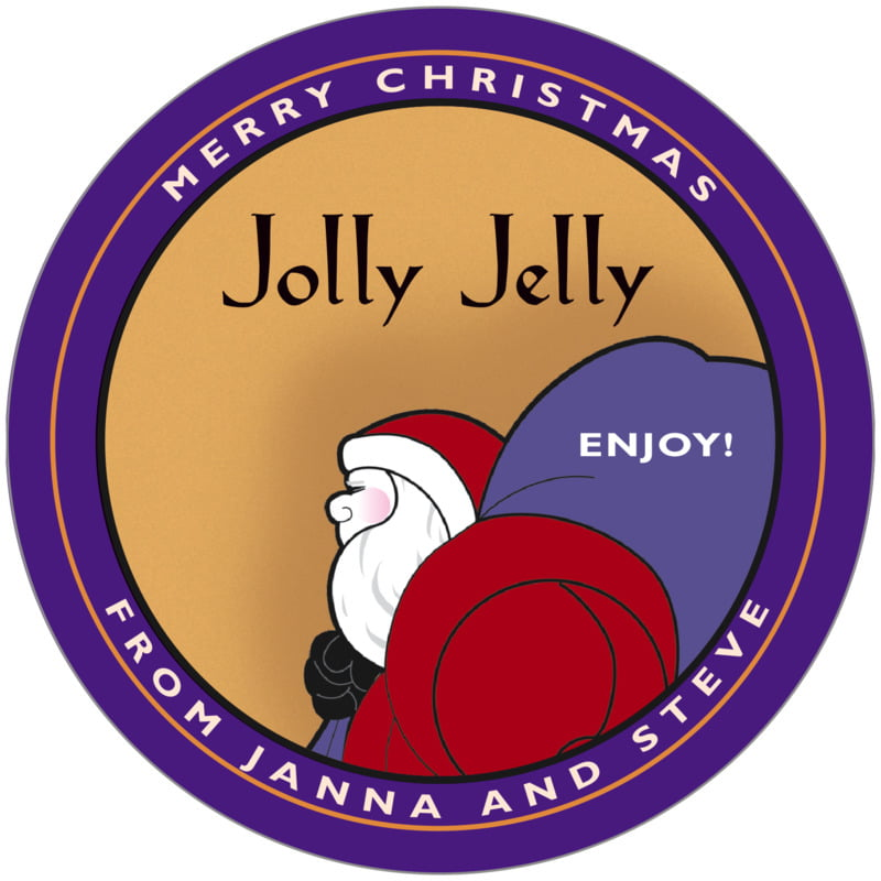 circle food/craft labels - purple & gold - santa (set of 12)