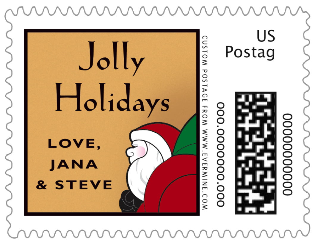 small custom postage stamps - red & gold - santa (set of 20)