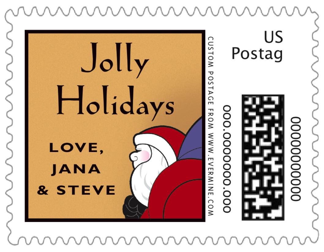 small custom postage stamps - purple & gold - santa (set of 20)