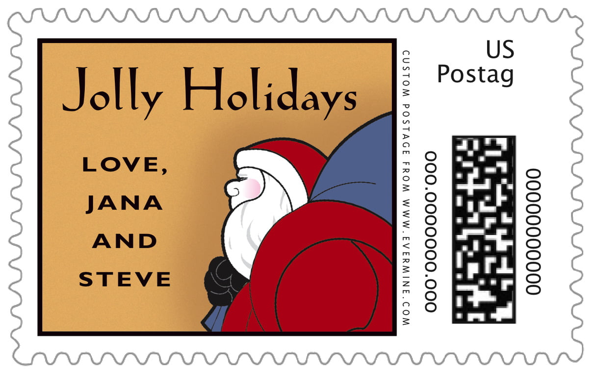custom large postage stamps - blue & gold - santa (set of 20)