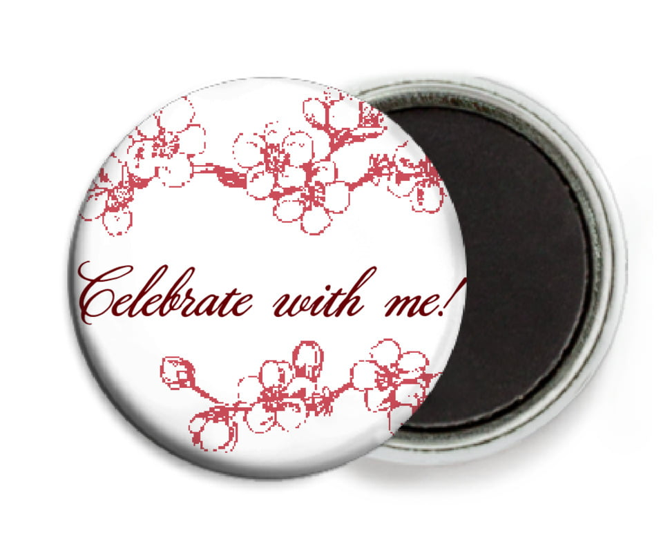 custom button magnets - deep red - spring (set of 6)