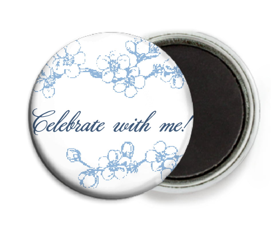 custom button magnets - blue - spring (set of 6)