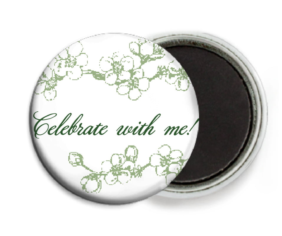 custom button magnets - sage - spring (set of 6)