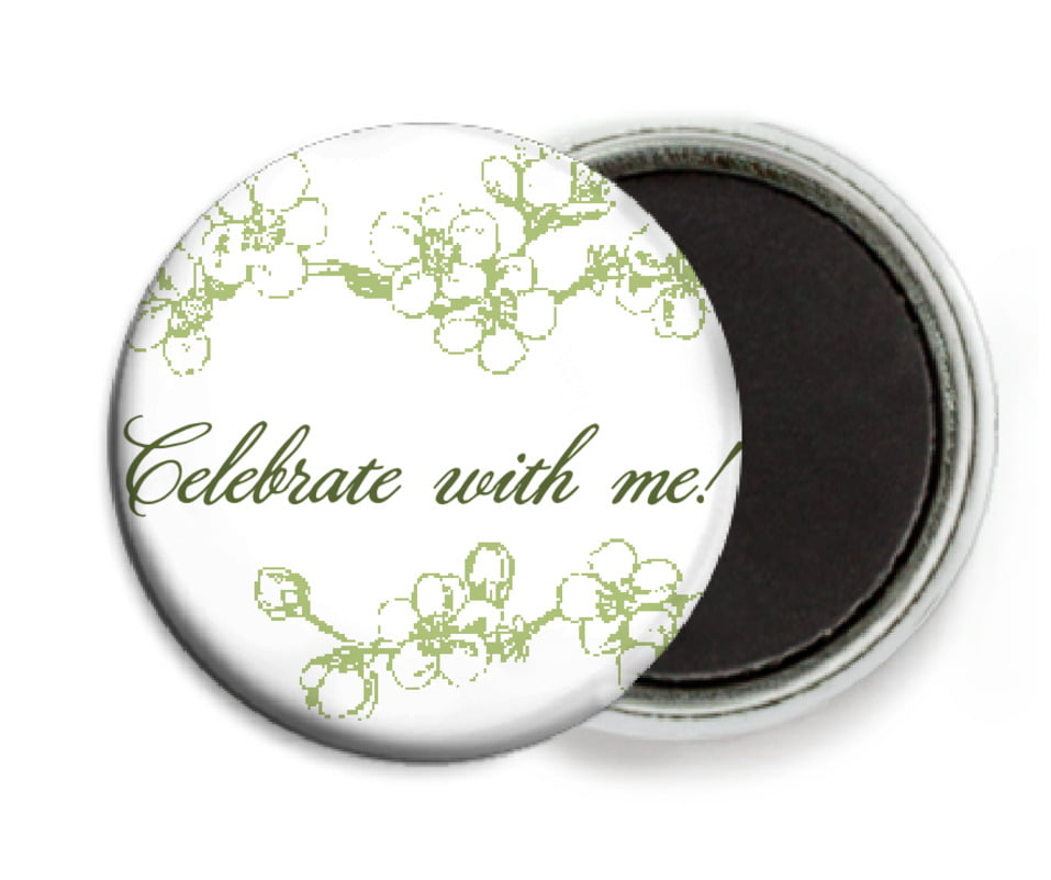custom button magnets - green tea - spring (set of 6)