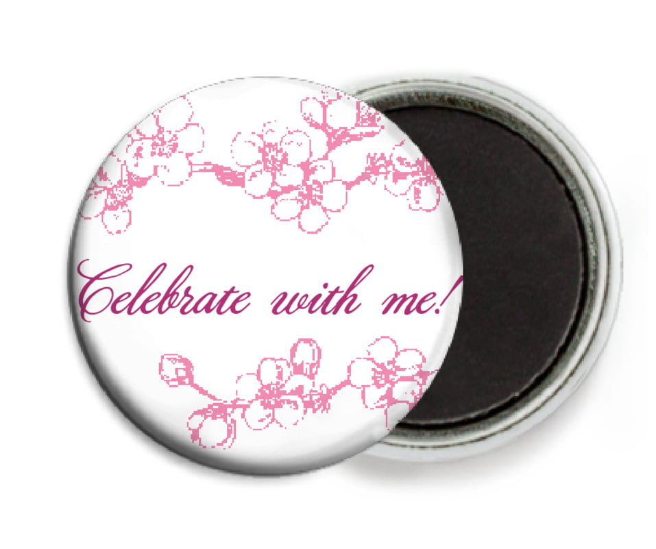 custom button magnets - pink - spring (set of 6)