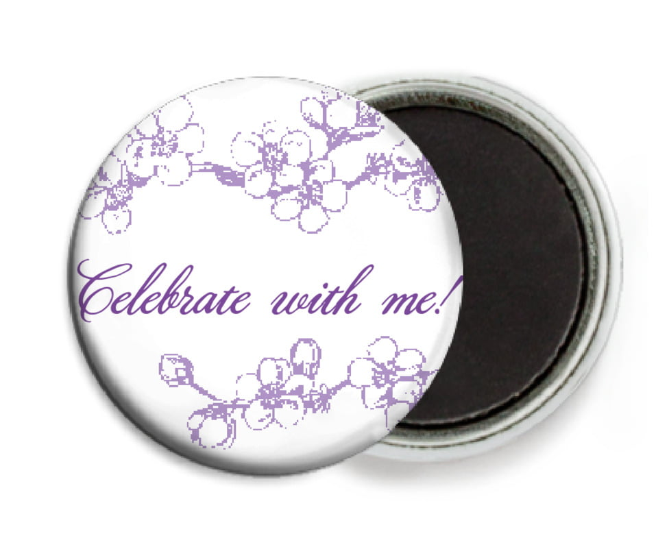 custom button magnets - lilac - spring (set of 6)