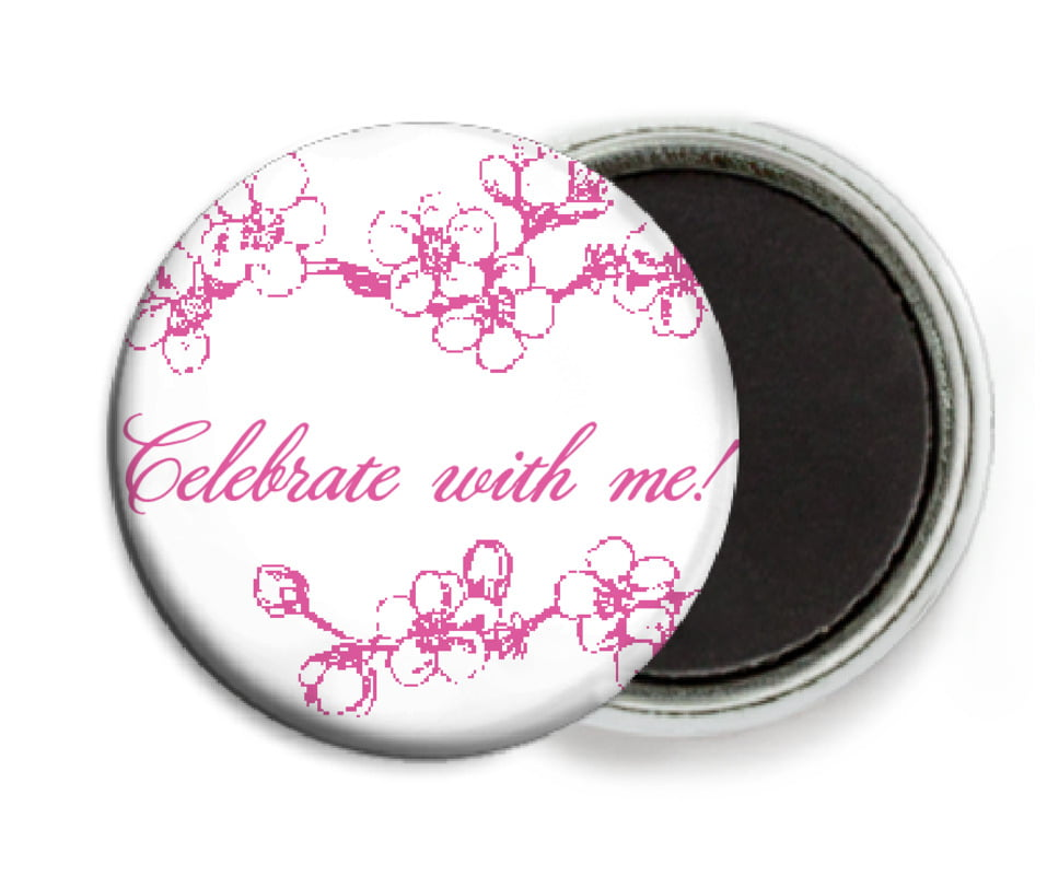 custom button magnets - bright pink - spring (set of 6)