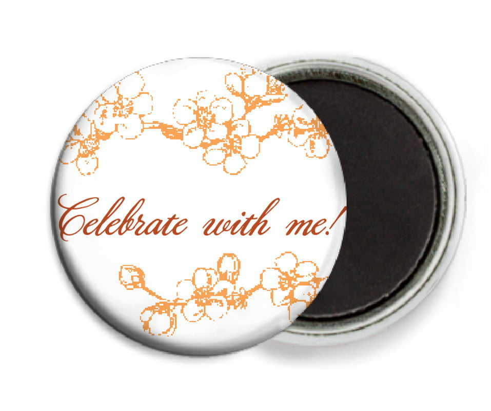custom button magnets - tangerine - spring (set of 6)