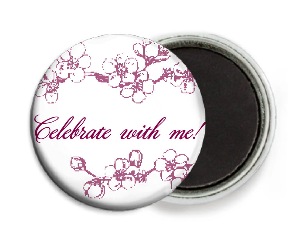 custom button magnets - burgundy - spring (set of 6)
