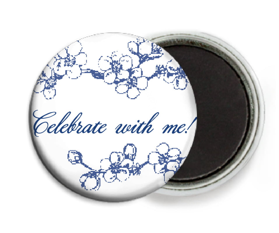 custom button magnets - deep blue - spring (set of 6)