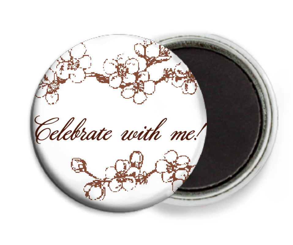 custom button magnets - chocolate - spring (set of 6)