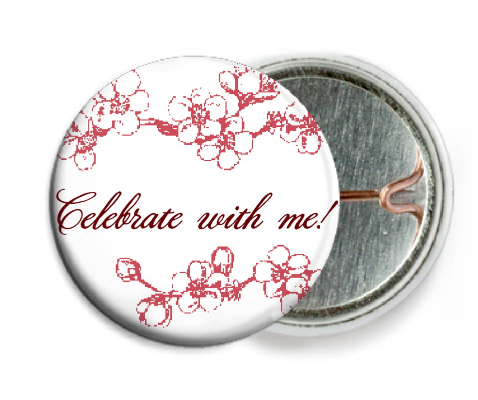 custom pin back buttons - deep red - spring (set of 6)