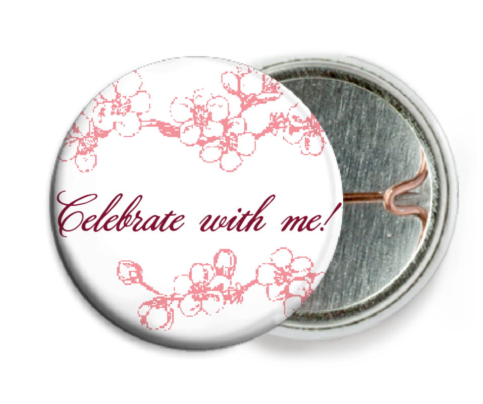 custom pin back buttons - grapefruit - spring (set of 6)
