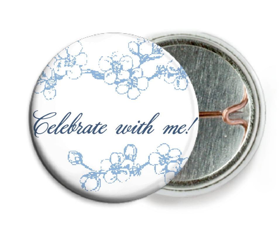 custom pin back buttons - blue - spring (set of 6)