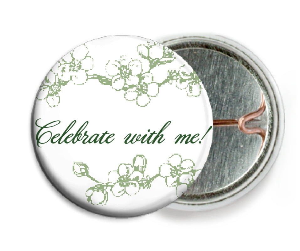 custom pin back buttons - sage - spring (set of 6)