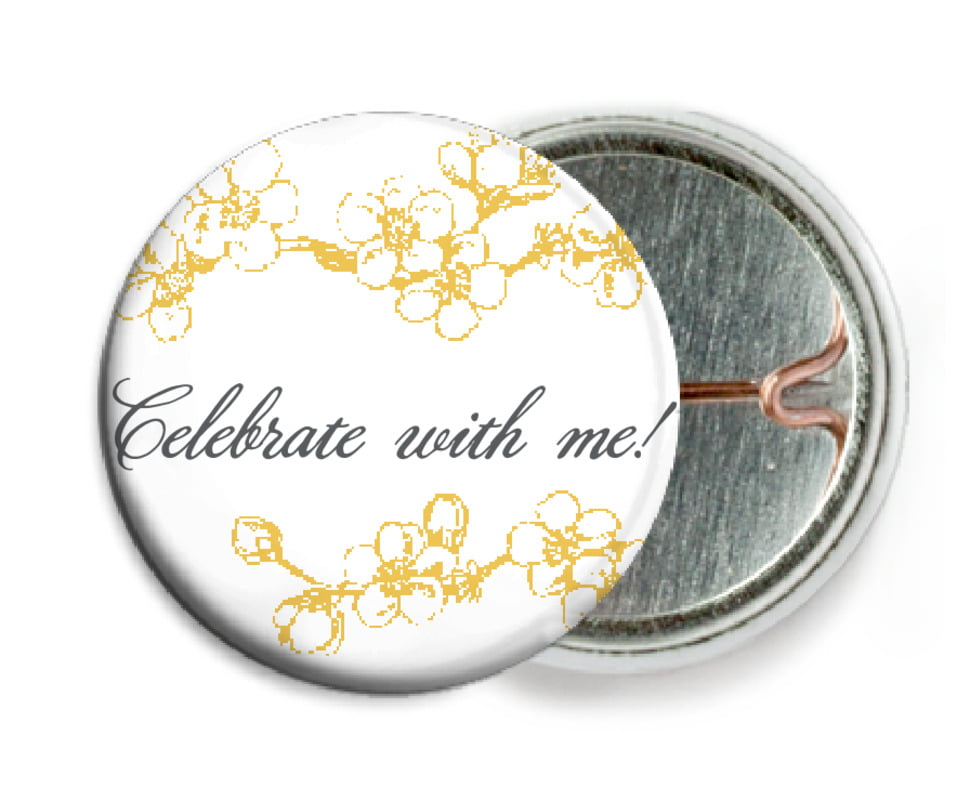 custom pin back buttons - amber - spring (set of 6)