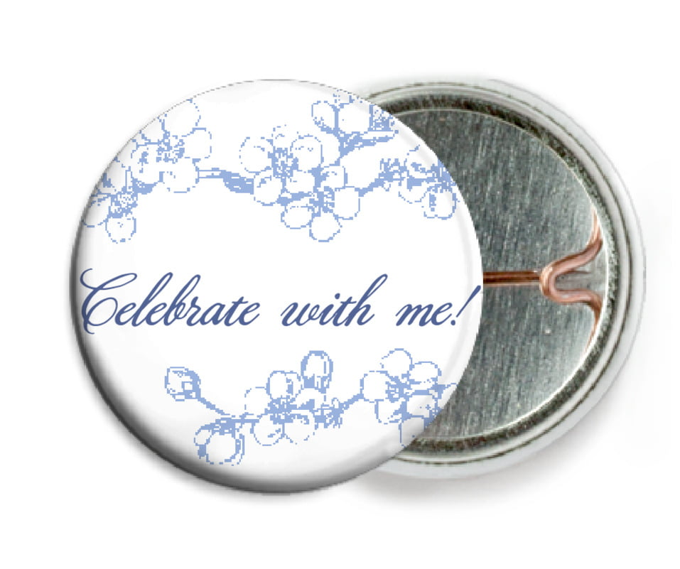 custom pin back buttons - periwinkle - spring (set of 6)