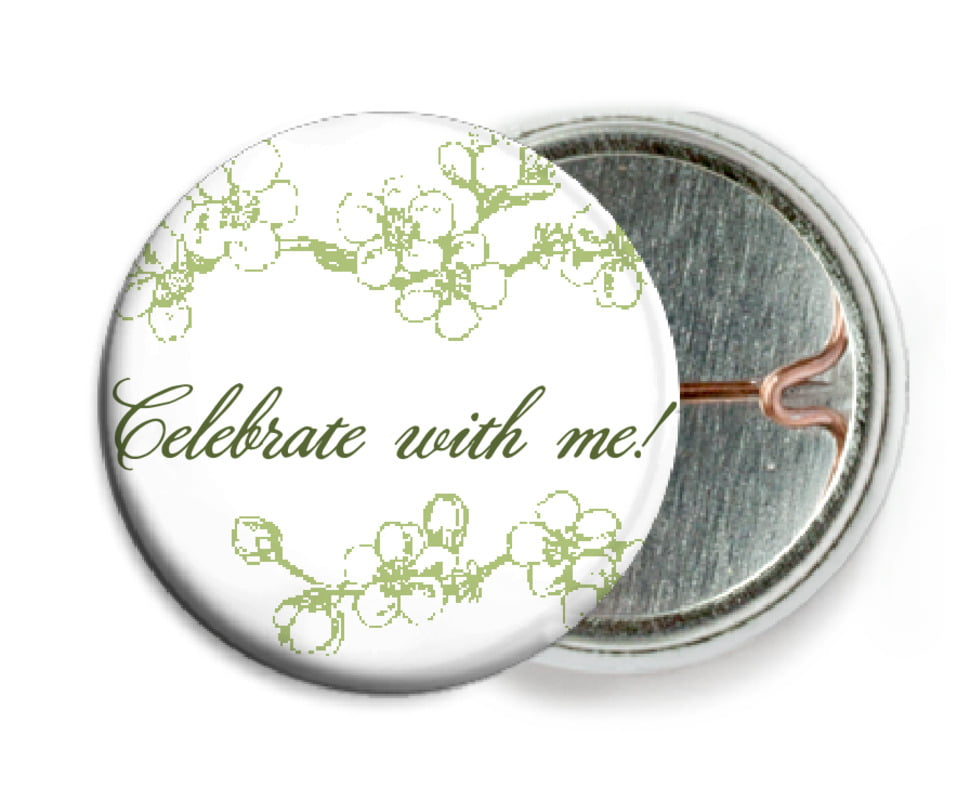 custom pin back buttons - green tea - spring (set of 6)