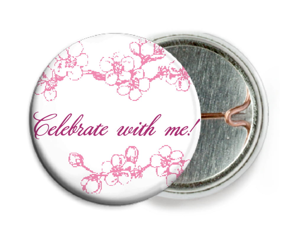 custom pin back buttons - pink - spring (set of 6)