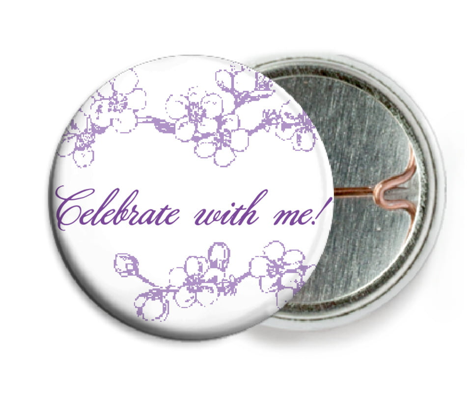 custom pin back buttons - lilac - spring (set of 6)
