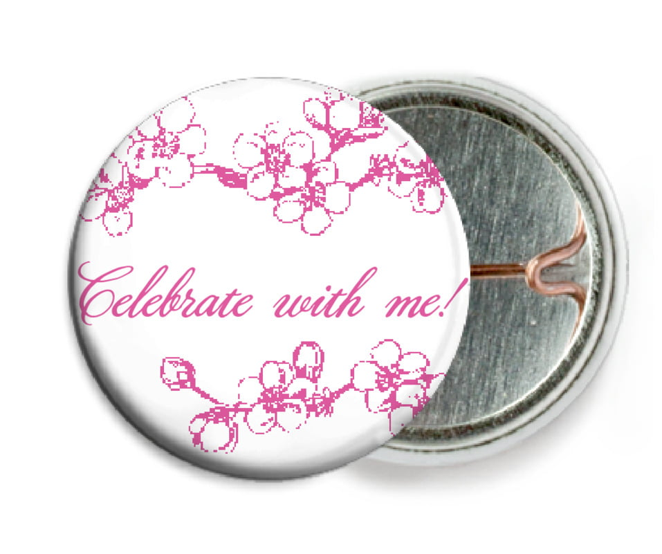 custom pin back buttons - bright pink - spring (set of 6)