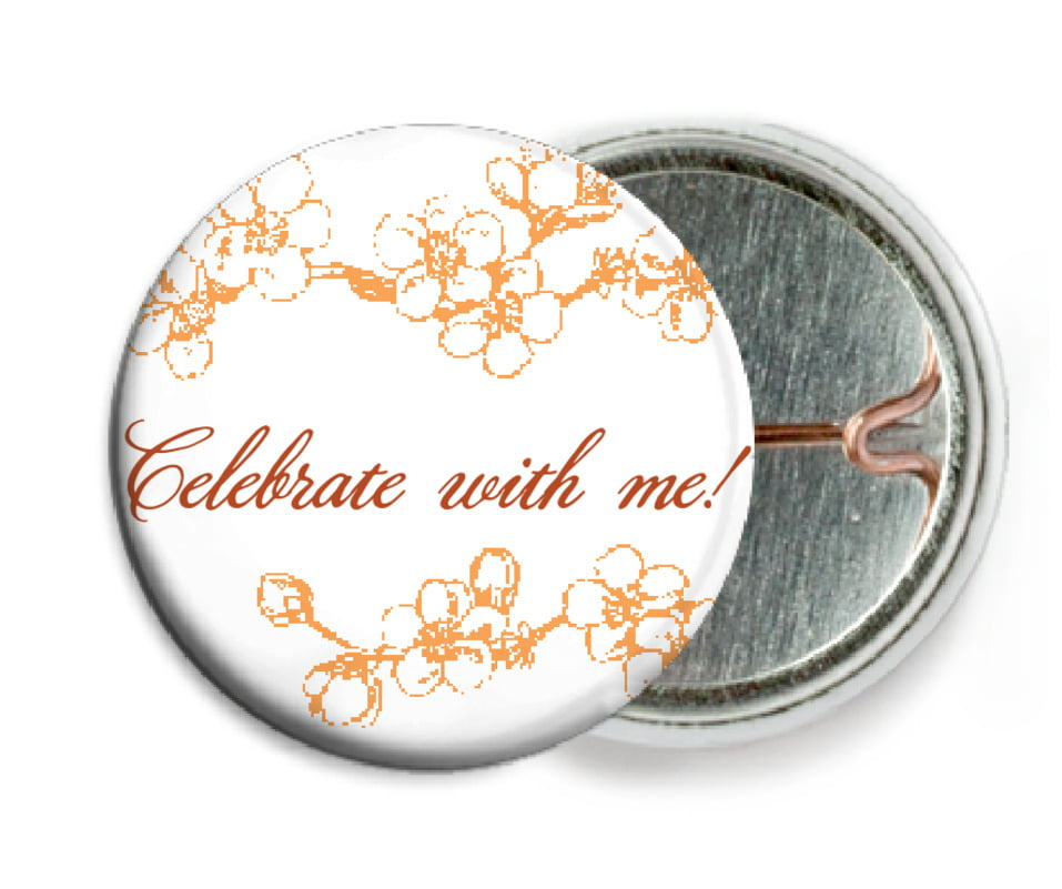 custom pin back buttons - tangerine - spring (set of 6)