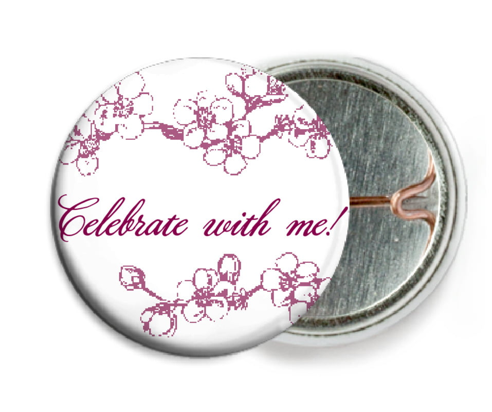 custom pin back buttons - burgundy - spring (set of 6)