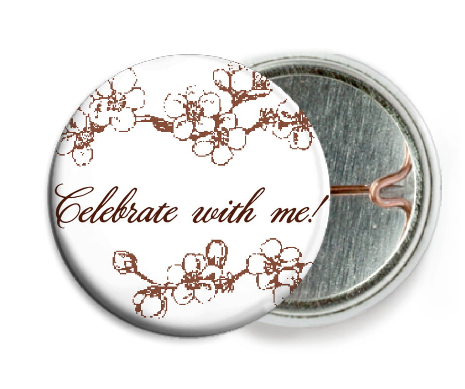 custom pin back buttons - chocolate - spring (set of 6)