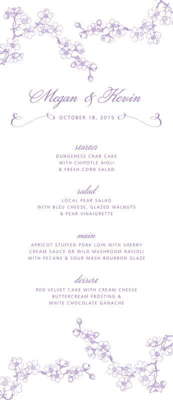 custom menus - lilac - spring (set of 10)