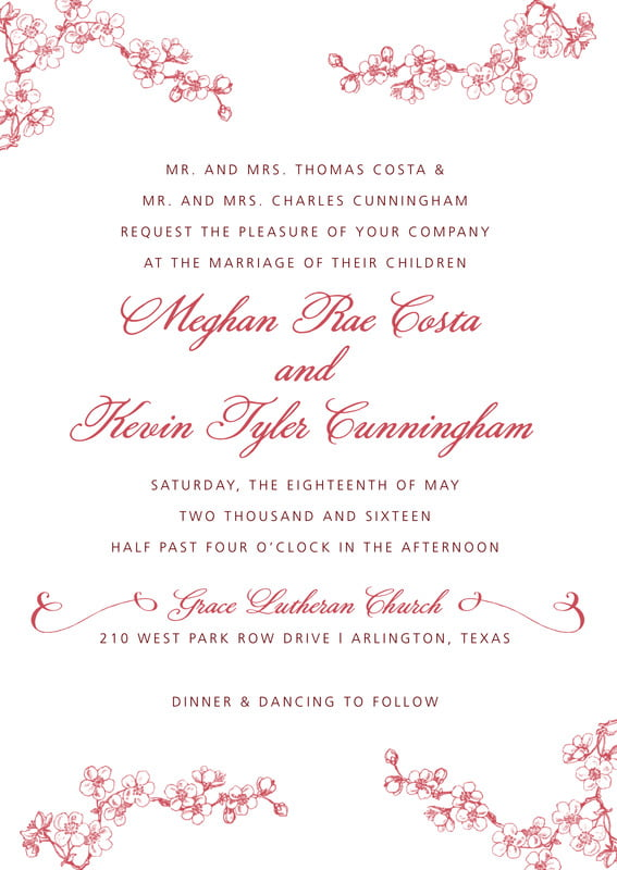 custom invitations - deep red - spring (set of 10)