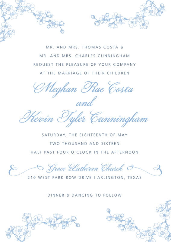 custom invitations - blue - spring (set of 10)