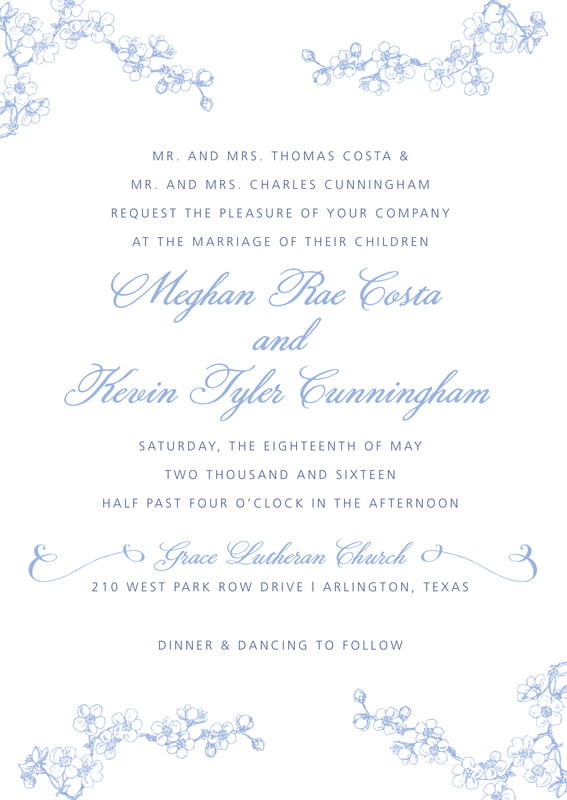 custom invitations - periwinkle - spring (set of 10)