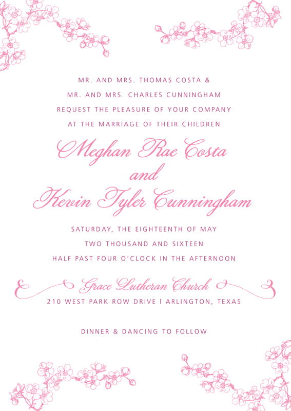 custom invitations - pink - spring (set of 10)