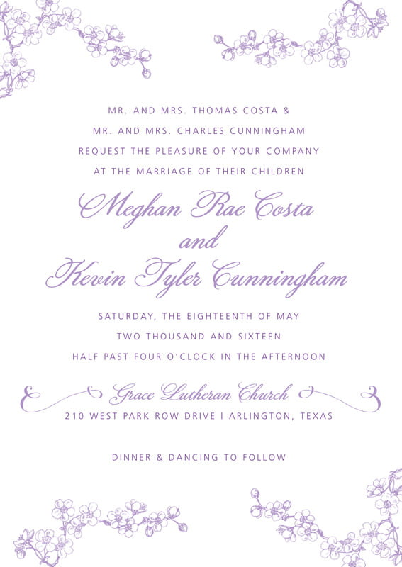 custom invitations - lilac - spring (set of 10)