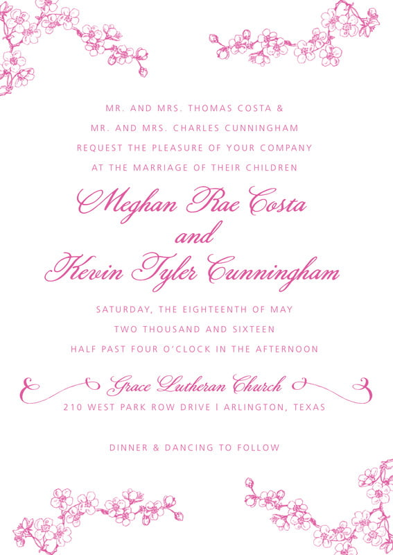 custom invitations - bright pink - spring (set of 10)