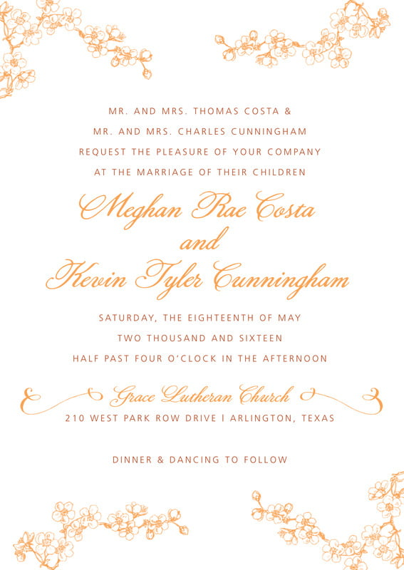 custom invitations - tangerine - spring (set of 10)
