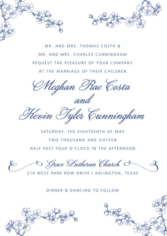 custom invitations - deep blue - spring (set of 10)