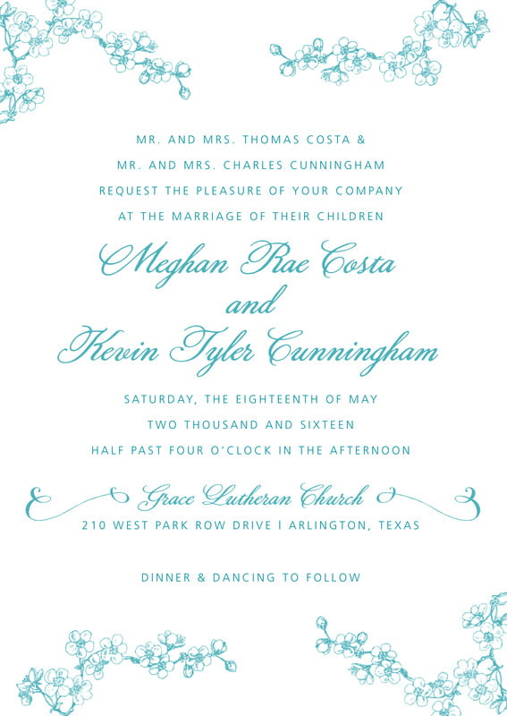 custom invitations - lagoon - spring (set of 10)