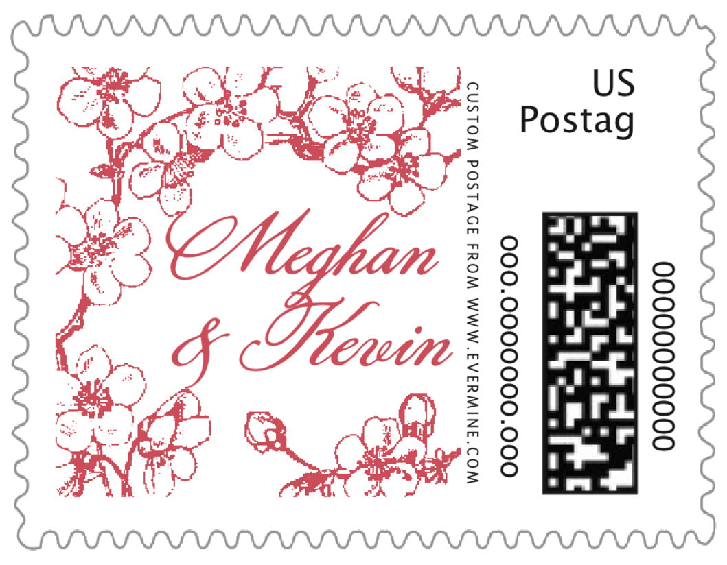small custom postage stamps - deep red - spring (set of 20)