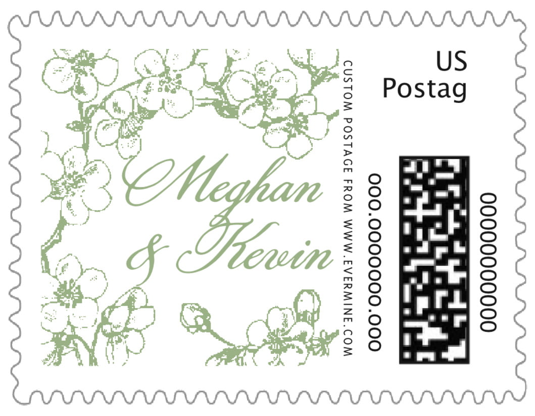 small custom postage stamps - sage - spring (set of 20)