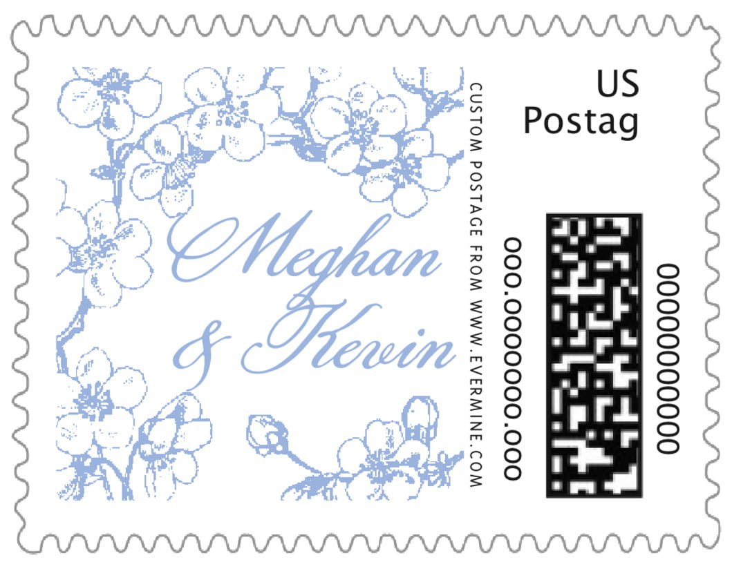 small custom postage stamps - periwinkle - spring (set of 20)