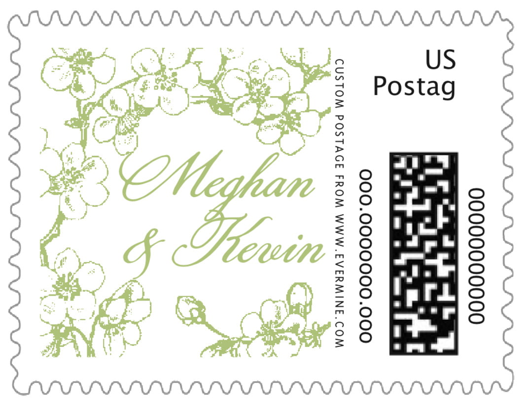 small custom postage stamps - green tea - spring (set of 20)
