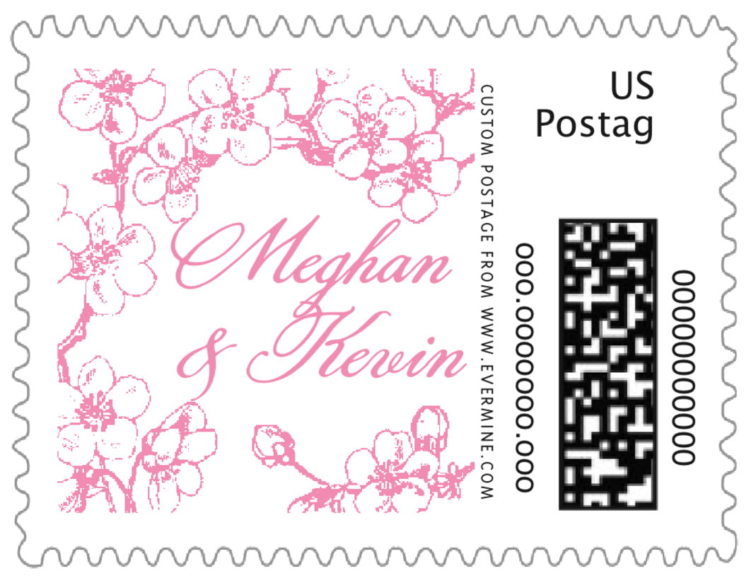 small custom postage stamps - pink - spring (set of 20)