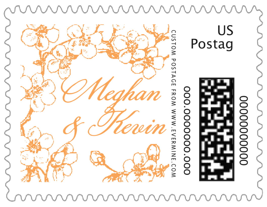 small custom postage stamps - tangerine - spring (set of 20)