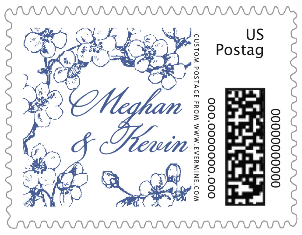 small custom postage stamps - deep blue - spring (set of 20)