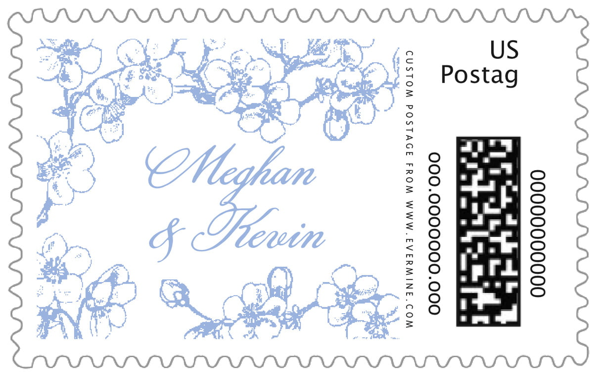 custom large postage stamps - periwinkle - spring (set of 20)