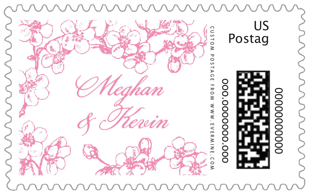 custom large postage stamps - pink - spring (set of 20)