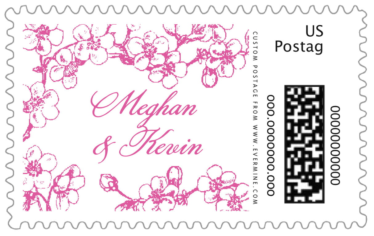 custom large postage stamps - bright pink - spring (set of 20)