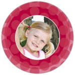 Swiss Dots Circle Photo Label In Deep Red